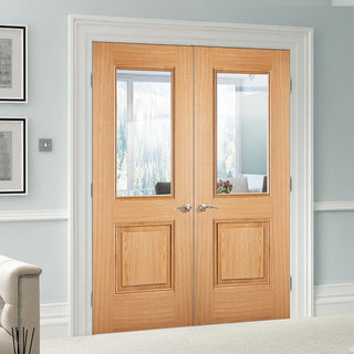 Image: Arnhem 1 Pane/1 Panel Oak Door Pair - Clear Glass - Prefinished