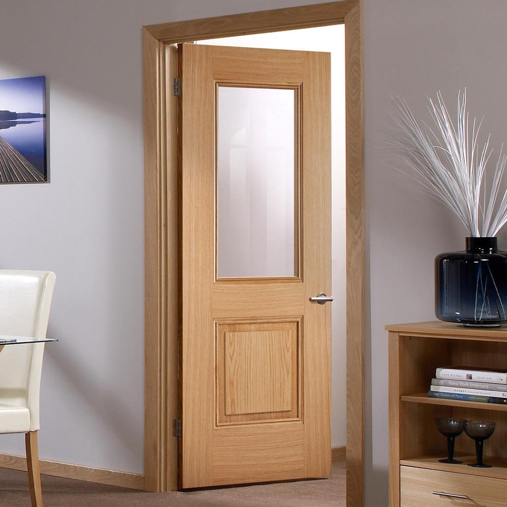 arnhem 1l1p oak door clear safety glass prefinishe