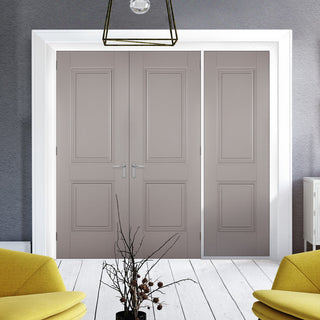Image: ThruEasi Room Divider - Arnhem 2 Panel Grey Primed Unfinished Double Doors with Single Side - 2018mm High - Multiple Widths