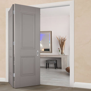 Image: Two Folding Doors & Frame Kit - Arnhem 2 Panel Grey Primed 2+0 - Unfinished