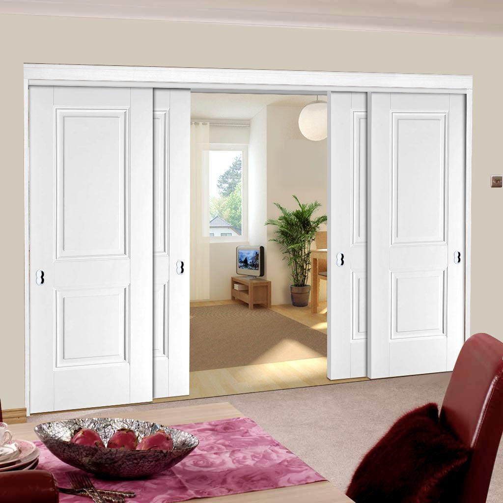 Four Sliding Doors and Frame Kit - Arnhem 2 Pane Door - White Primed