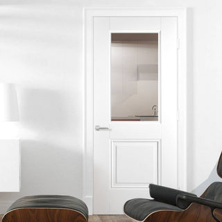 Image: Arnhem 1L 1P White Primed Door with Clear Safety Glass