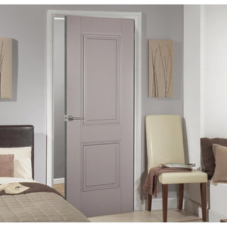 Image: Arnhem 2 Panel Grey Primed Fire Door - 1/2 Hour Fire Rated