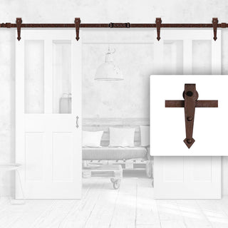 Image: Antique Rust Double Sliding Track - Barn Style - Arrowhead Hanger