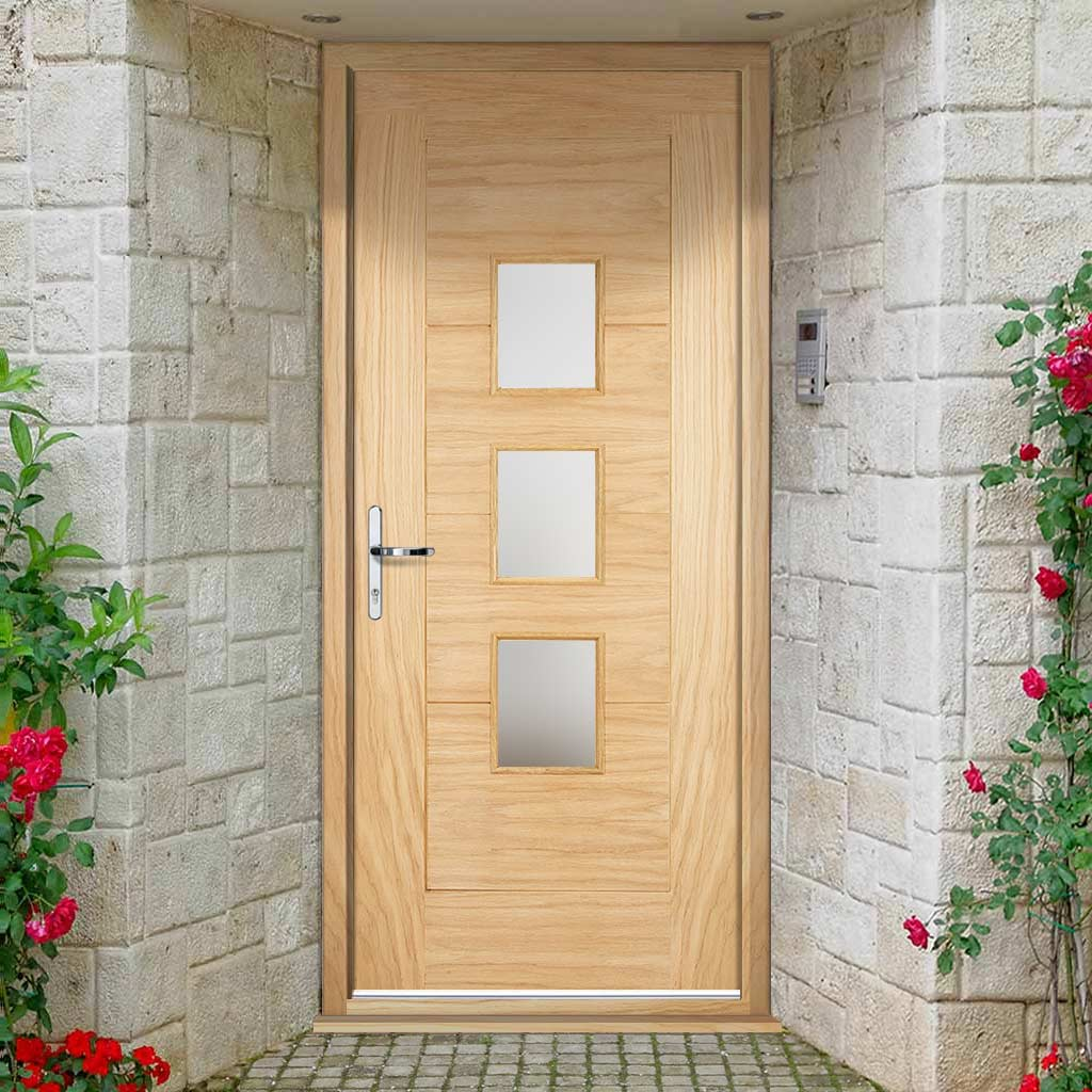Part L Compliant Arta Exterior Oak Door and Frame Set - Frosted Double Glazing, From LPD Joinery