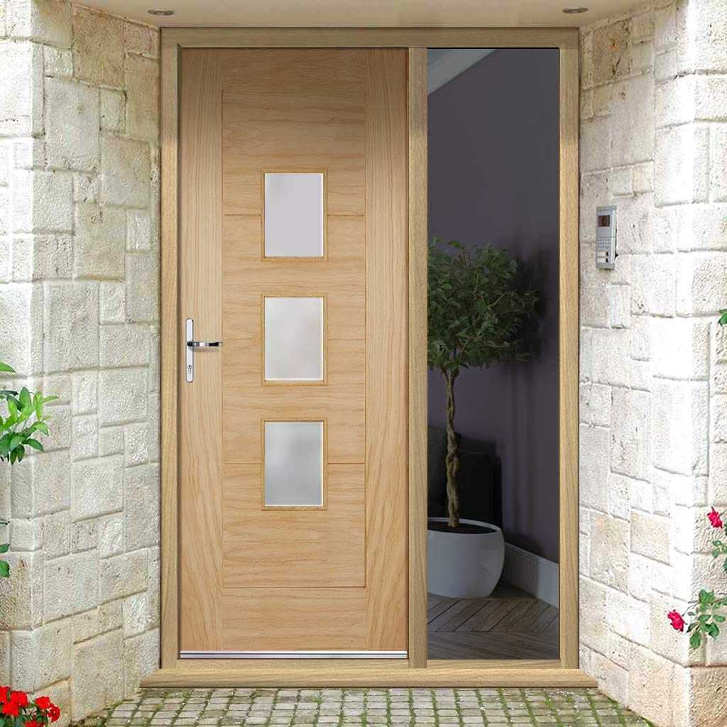 Part L Compliant Arta Exterior Oak Door and Frame Set - Frosted Double Glazing - One Unglazed Side Screen, From LPD Joinery