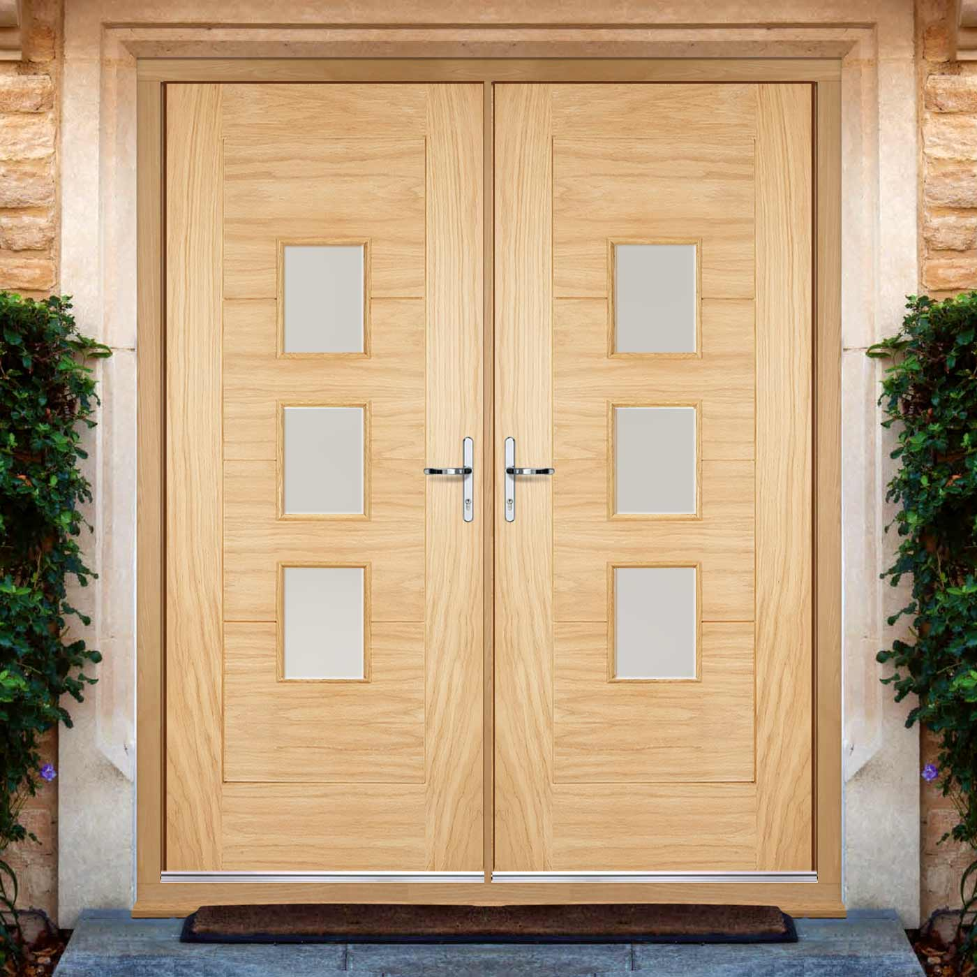 Part L Compliant Arta External Oak Double Door and Frame Set - Frosted Double Glazing - Warmerdoor Style