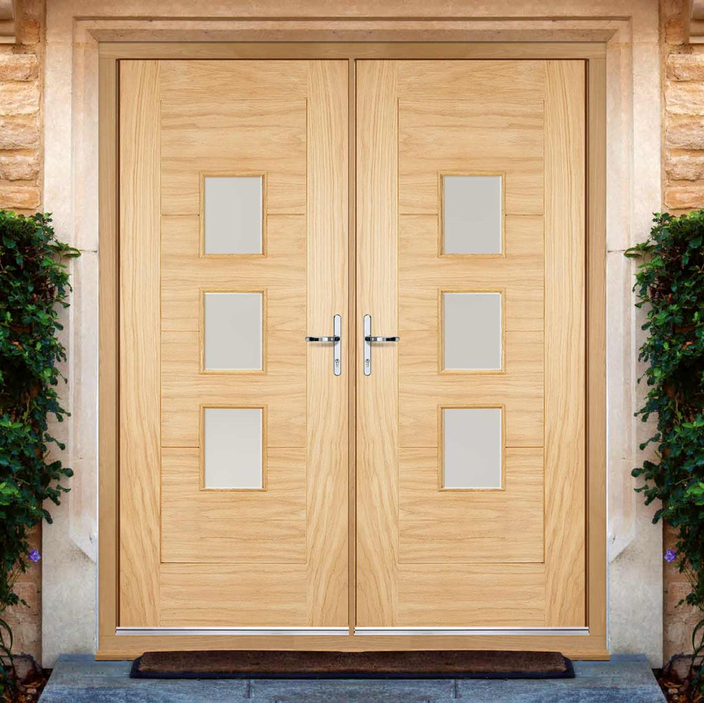 Part L Compliant Arta External Oak Double Door and Frame Set - Frosted Double Glazing - Warmerdoor Style, From LPD Joinery