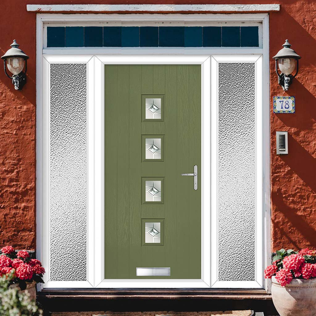 Cottage Style Aruba 4 Composite Door Set with Double Side Screen - Central Roma Glass - Shown in Reed Green