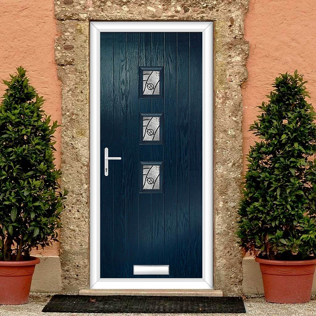 Cottage Style Aruba 3 Composite Door Set with Central Abstract Glass - Shown in Blue