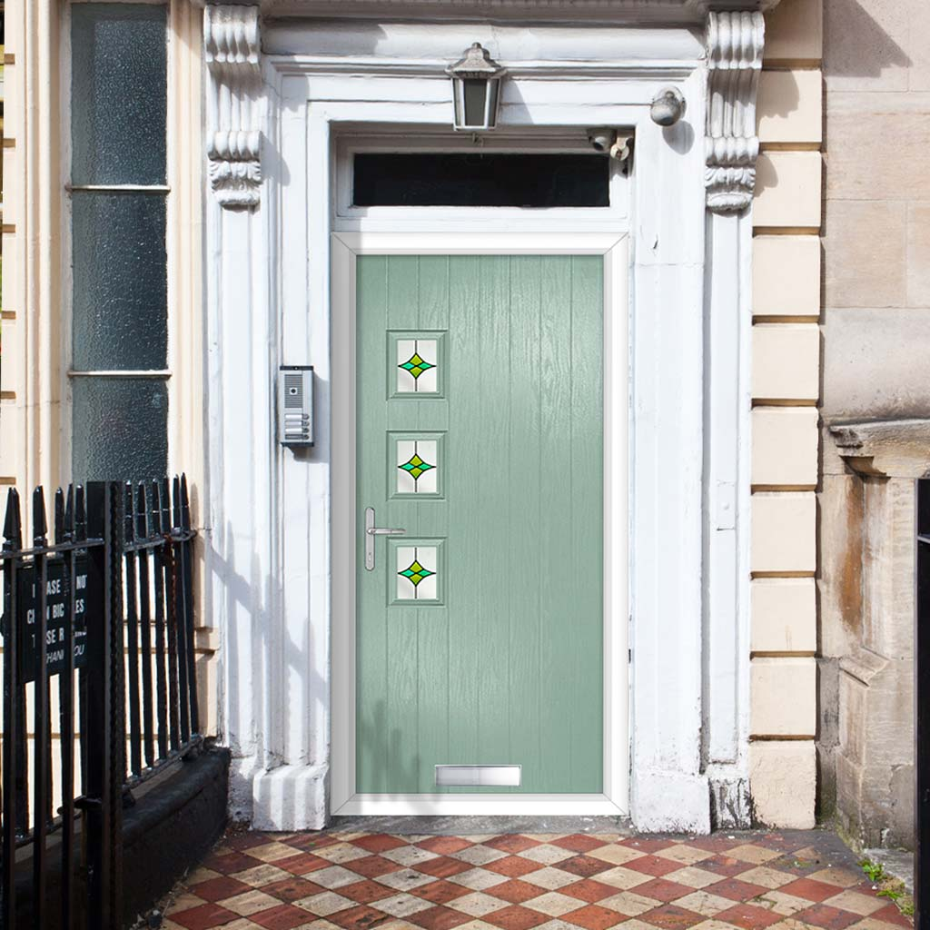 Cottage Style Aruba 3 Composite Door Set with Hnd Laptev Green Glass - Shown in Chartwell Green