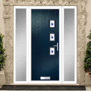 Image: Cottage Style Aruba 3 Composite Door Set with Double Side Screen - Hnd Kupang Blue Glass - Shown in Blue