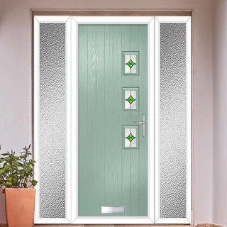 Image: Cottage Style Aruba 3 Composite Door Set with Double Side Screen - Hnd Laptev Green Glass - Shown in Chartwell Green