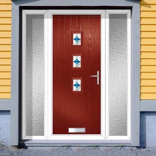 Image: Cottage Style Aruba 3 Composite Door Set with Double Side Screen - Central Laptev Blue Glass - Shown in Red