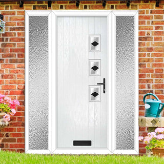 Image: Cottage Style Aruba 3 Composite Door Set with Double Side Screen - Hnd Diamond Black Glass - Shown in White