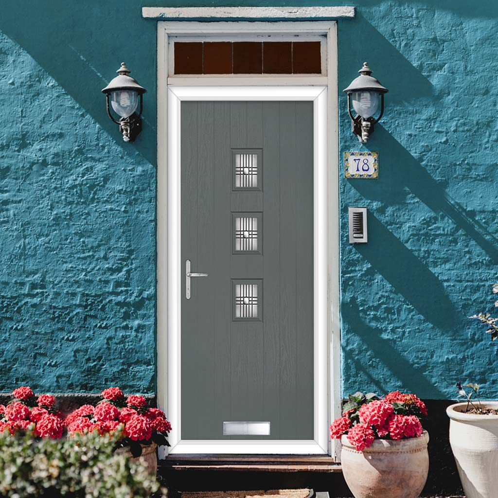 Cottage Style Aruba 3 Composite Door Set with Central Matisse Glass - Shown in Mouse Grey