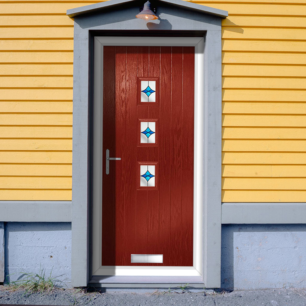 Cottage Style Aruba 3 Composite Door Set with Central Laptev Blue Glass - Shown in Red