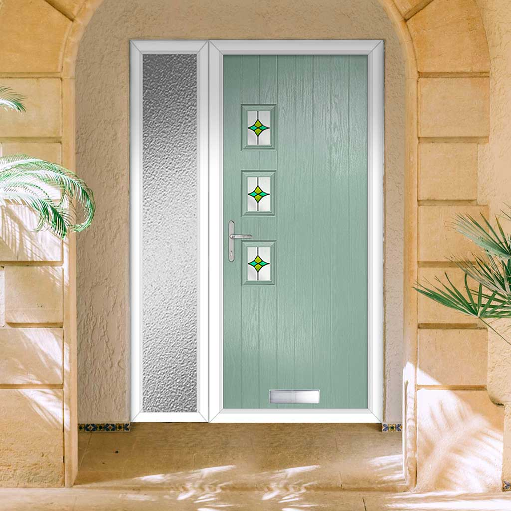 Cottage Style Aruba 3 Composite Door Set with Single Side Screen - Hnd Laptev Green Glass - Shown in Chartwell Green