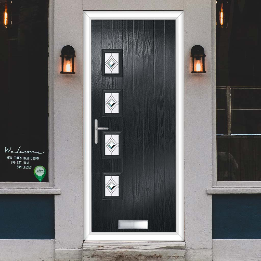 Cottage Style Aruba 4 Composite Door Set with Hnd Pusan Glass - Shown in Anthracite Grey