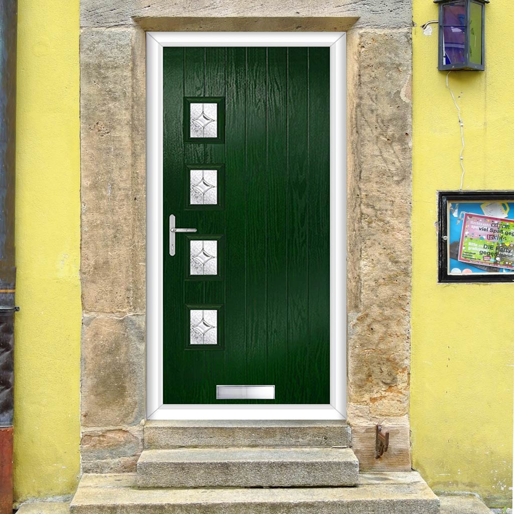 Cottage Style Aruba 4 Composite Door Set with Hnd Flair Glass - Shown in Green