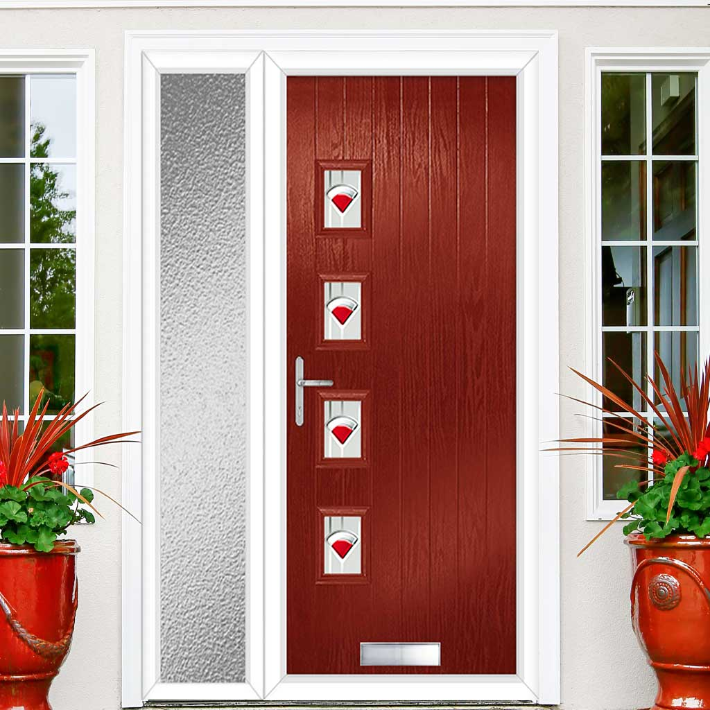Cottage Style Aruba 4 Composite Door Set with Single Side Screen - Hnd Murano Red Glass - Shown in Red