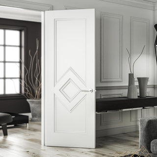 Image: Deanta white primed panelled interior door