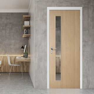 Image: Bespoke Fire Door - Flush American Ash Veneer - 30 Minute Fire Rated - Clear Glass - 06 - Prefinished