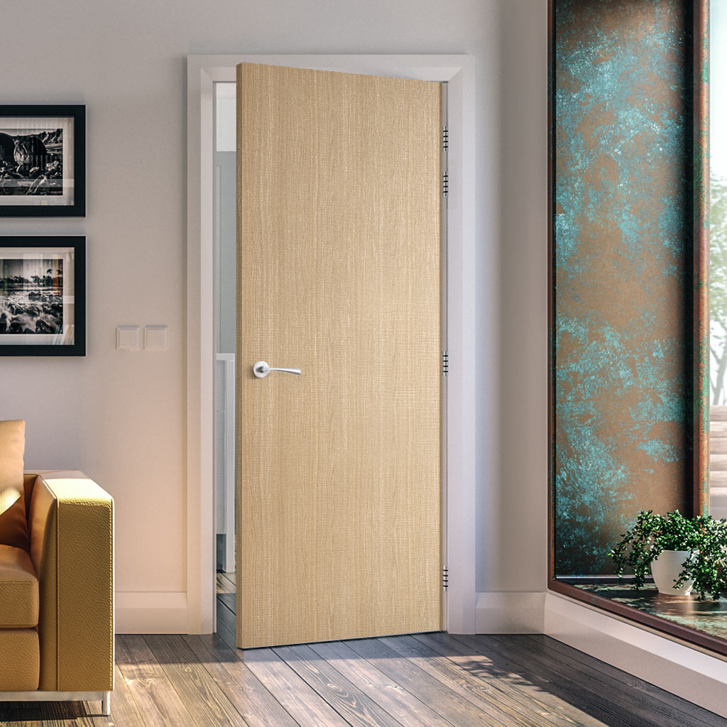 Bespoke Fire Door - Flush American Ash Veneer - 60 Minute Fire Rated - Prefinished