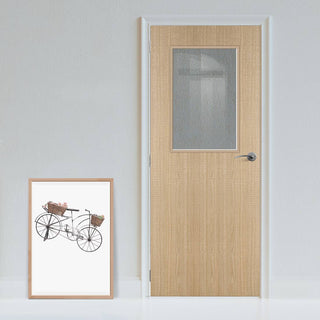 Image: Bespoke Fire Door - Flush American Ash Veneer - 30 Minute Fire Rated - Clear Glass - 01 - Prefinished