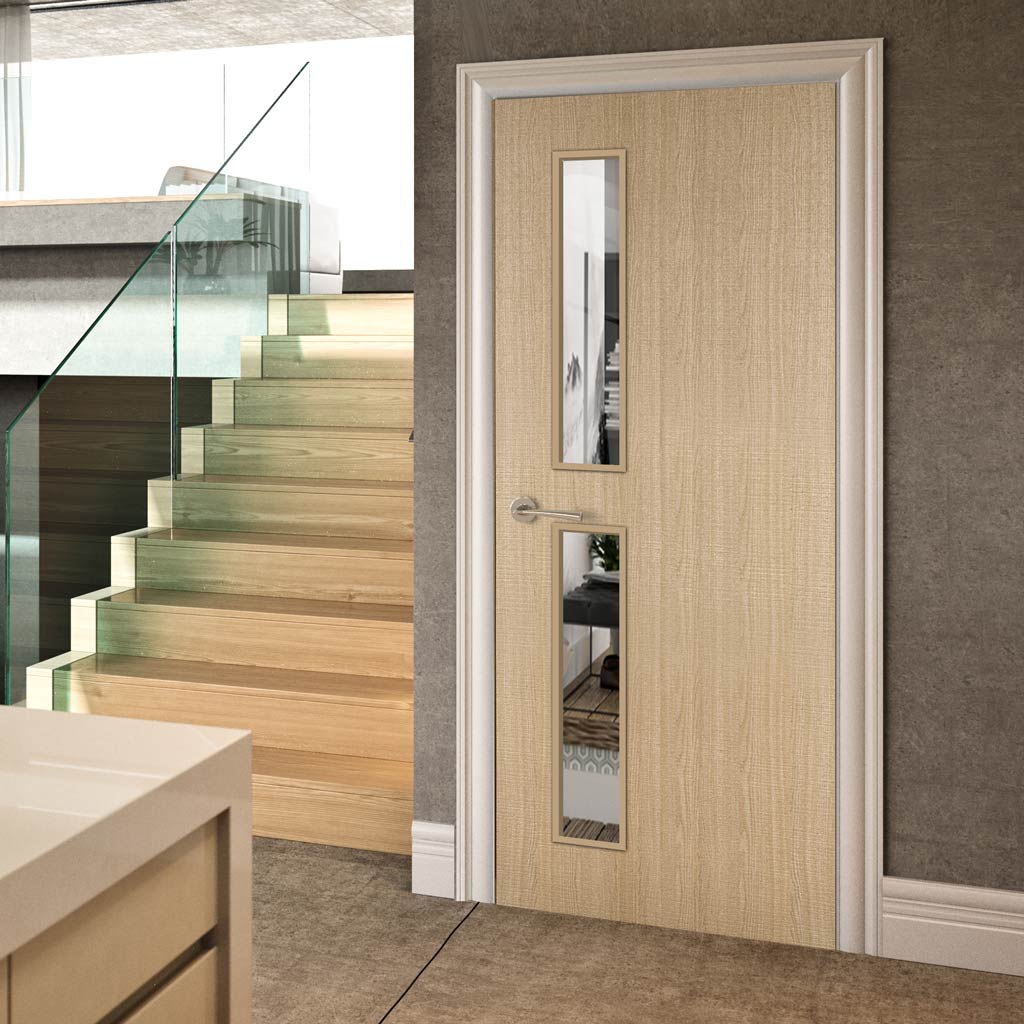 Bespoke Fire Door - Flush American Ash Veneer - 30 Minute Fire Rated - Clear Glass - 07 - Prefinished