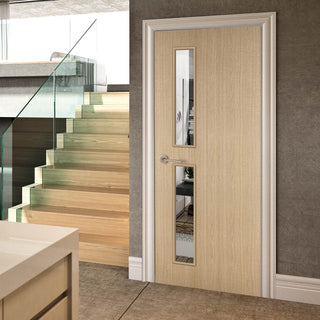 Image: Bespoke Fire Door - Flush American Ash Veneer - 30 Minute Fire Rated - Clear Glass - 07 - Prefinished