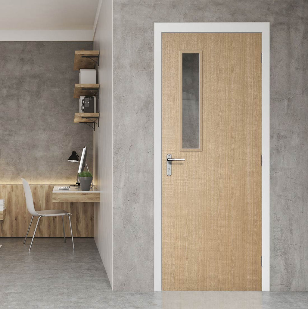 Bespoke Fire Door - Flush American Ash Veneer - 30 Minute Fire Rated - Clear Glass - 08 - Prefinished