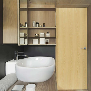 Image: Bathroom door in ash veneer
