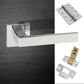 Image: Asti Forme Designer Fire Lever on Minimal Square Rose - Polished Chrome Handle Pack