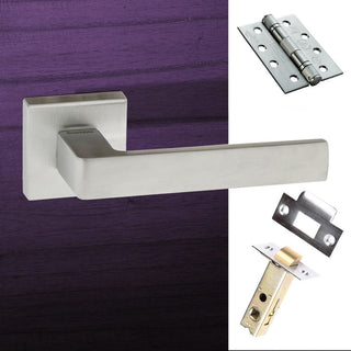 Image: Asti Forme Designer Fire Lever on Minimal Square Rose - Satin Chrome Handle Pack