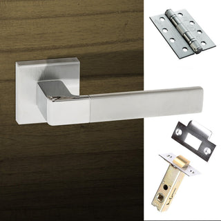 Image: Asti Forme Designer Fire Lever on Minimal Square Rose - Satin Chrome - Polished Chrome Handle Pack