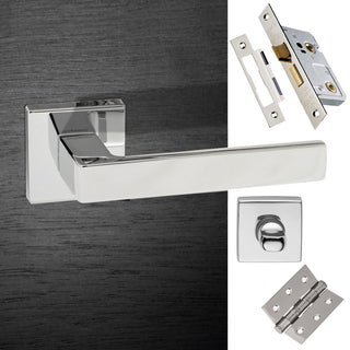 Image: Asti Forme Designer Bathroom Lever on Minimal Square Rose - Polished Chrome Handle Pack