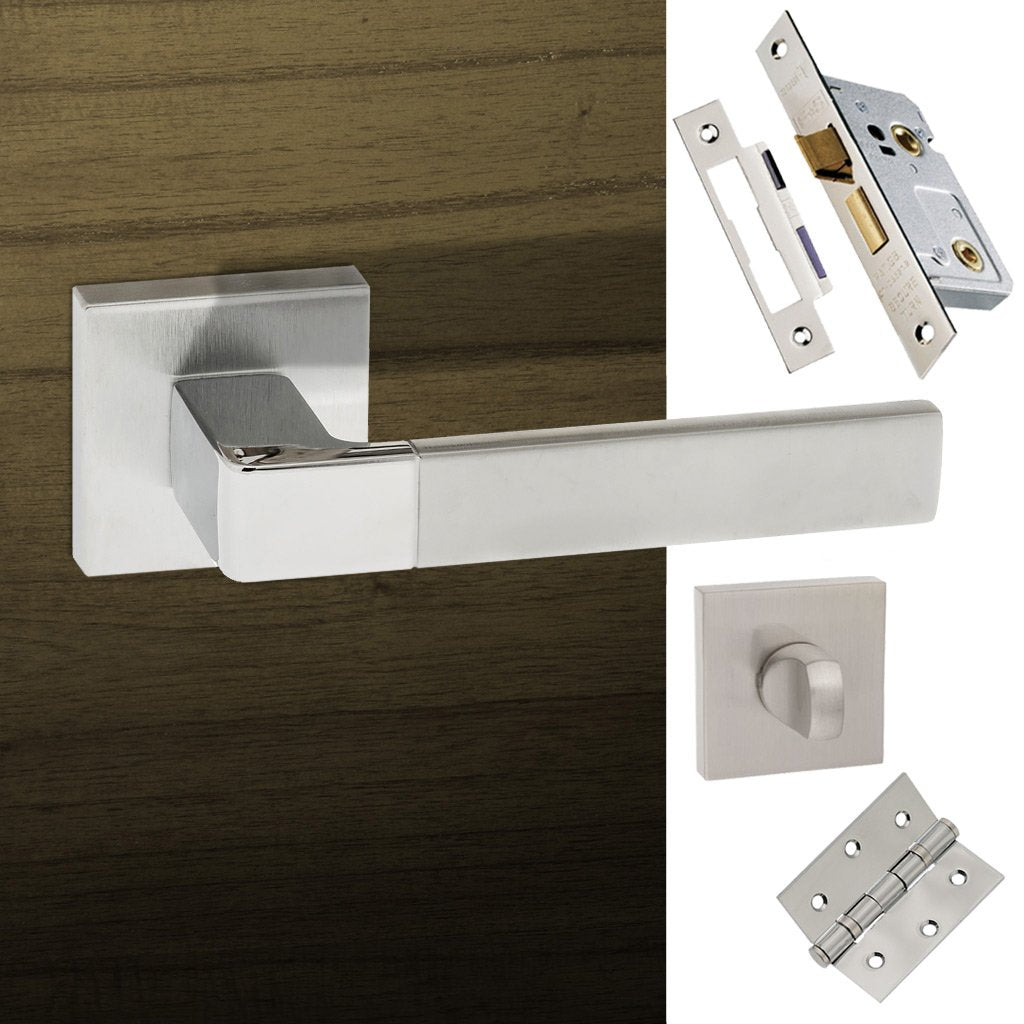 Asti Forme Designer Bathroom Lever on Minimal Square Rose - Satin Chrome - Polished Chrome Handle Pack
