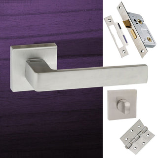 Image: Asti Forme Designer Bathroom Lever on Minimal Square Rose - Satin Chrome Handle Pack