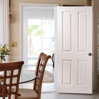 Image: Canterbury Grained 4 Panel Fire Door - White Primed - 1/2 hour Fire Rated