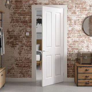Image: JELD-WEN INTERNAL Atherton 4 Panel Smooth Fire Door - Primed - Moulded Range