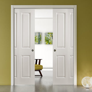 Image: JELD-WEN INTERNAL Atherton Middleweight Double Evokit Pocket Door - Undercoated - Moulded Range