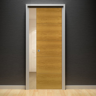 Image: Augusta Real American White Oak Crown Cut Veneer Single Evokit Pocket Door - Prefinished