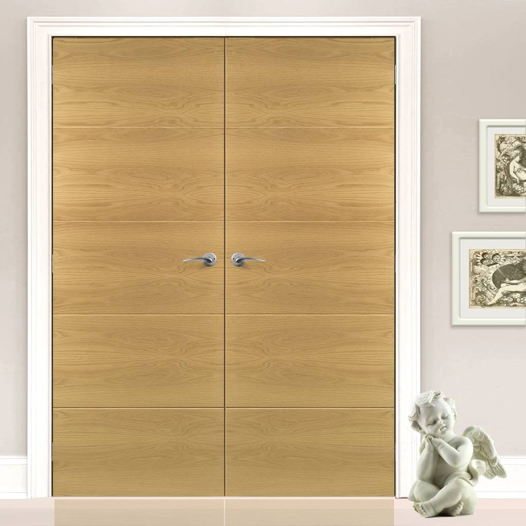 Augusta Real American White Oak Crown Cut Veneer Door Pair - Prefinished