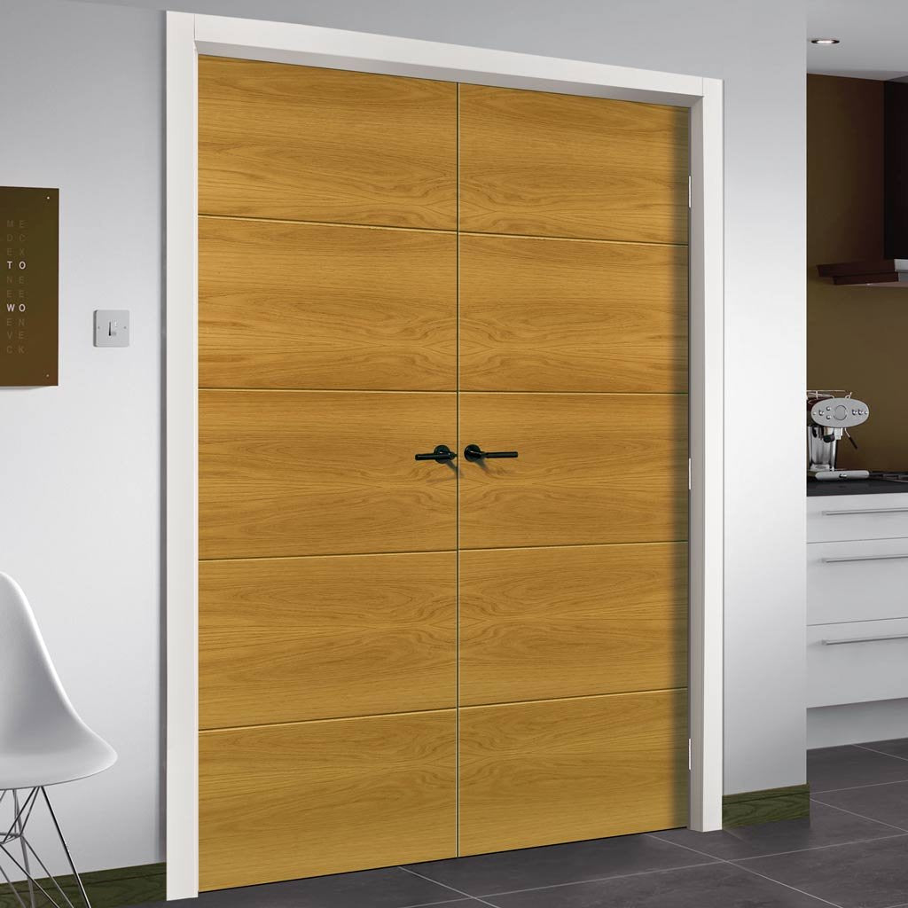 Augusta Real American White Oak Crown Cut Veneer Fire Door Pair - Prefinished - 1/2 Hour Fire Rated