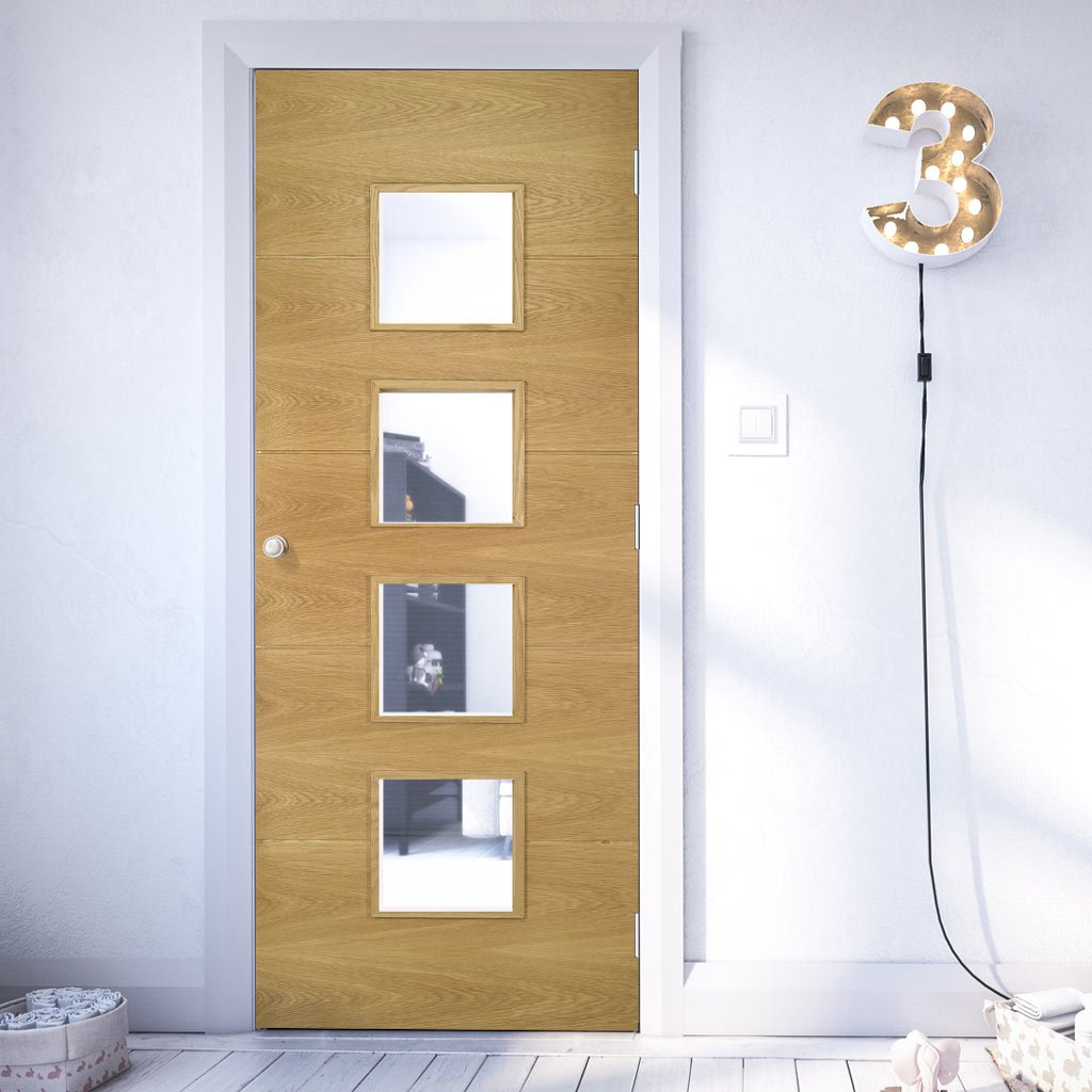 Deanta oak veneered interior door with safety glass