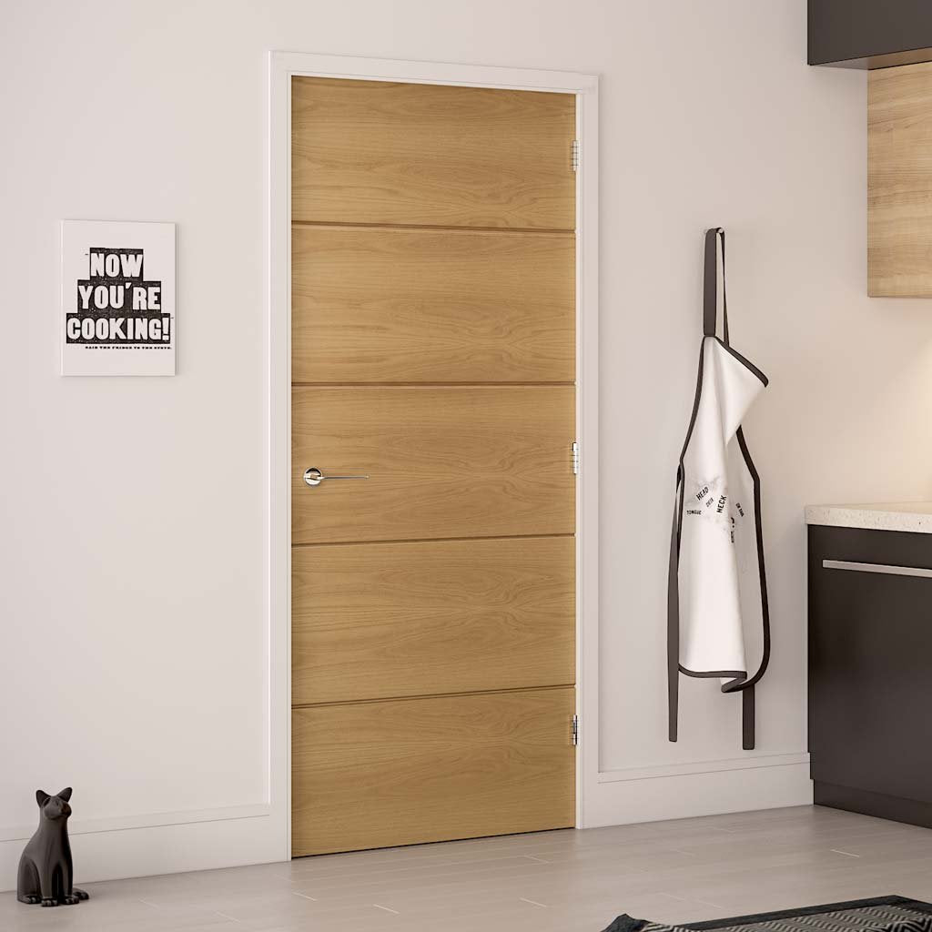 Augusta Real American White Oak Crown Cut Veneer Fire Door - Prefinished - 1/2 Hour Fire Rated