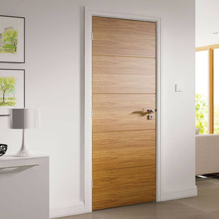Image: Augusta Real American White Oak Crown Cut Veneer Door - Prefinished from Deanta UK