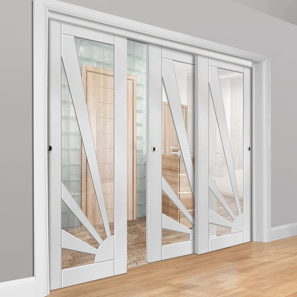 Three Sliding Doors and Frame Kit - Calypso Aurora White Primed Door - Clear Glass