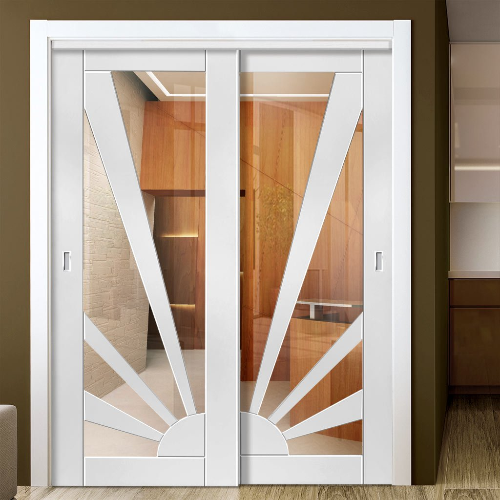 Two Sliding Doors and Frame Kit - Calypso Aurora White Primed Door - Clear Glass